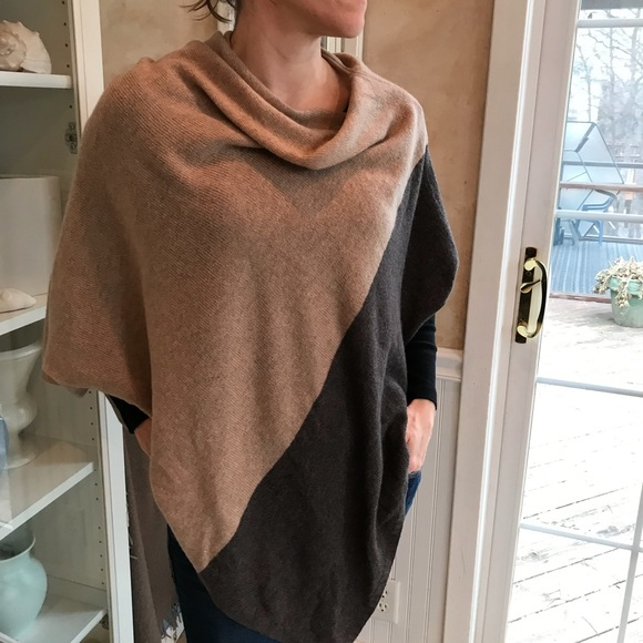 Celeste BrownTan Wool Cashmere Poncho